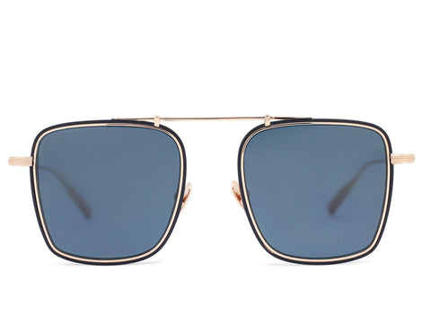 VEGA - Rose Gold Aerospace Titanium Frame in Solid Blue Lens