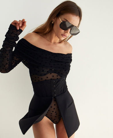 All You - Off Shoulder Long Sleeve Mesh Bodysuit