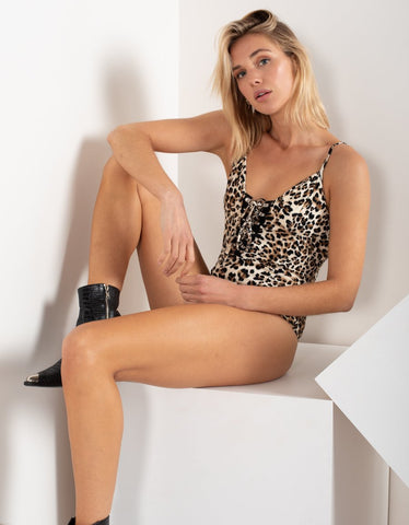 HEARTS ON FIRE Lace Up Jersey Bodysuit - Leopard Print
