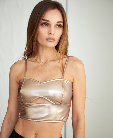 I Say I Say - Vegan Leather Crop Top