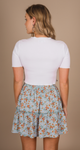 CECILE RUFFLE SKIRT - BLUE/ORANGE FLOWERS