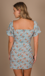 CHA CHA MINI DRESS - BLUE/ORANGE FLOWERS
