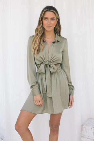 MOONLIGHT TIE CROP - KHAKI