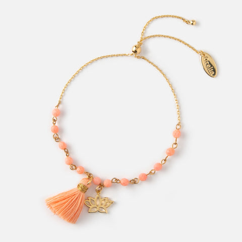 LOTUS & TASSEL BEADED BRACELET