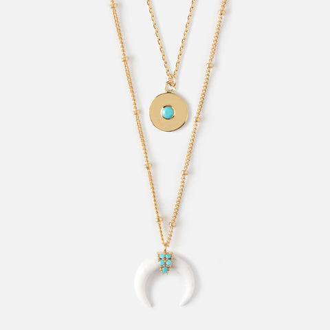 COIN & EMBELLISHED CRESCENT 2 ROW NECKLACE