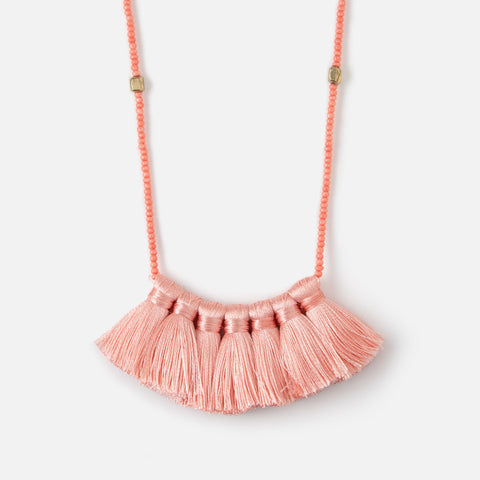 LONG BEAD & TASSEL FAN NECKLACE  PINK