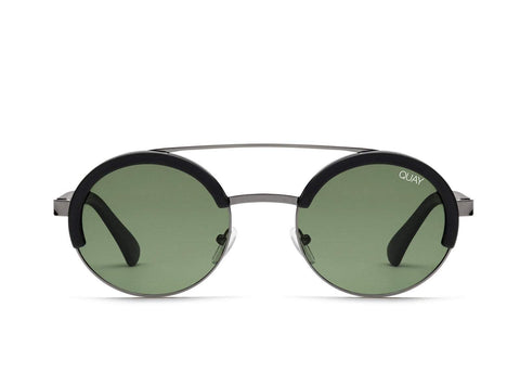 Quay Australia Sunglasses Come Around - Black / Green Lens