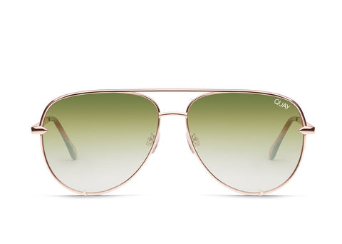 Quay Australia Sunglasses High Key Mini - Rose / Green Fade Lens