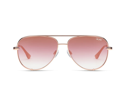 Quay Australia Sunglasses High Key - Rose / Copper Fade Lens