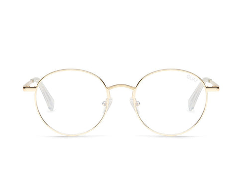Quay Australia Sunglasses I See You - Gold / Clear Blue Light