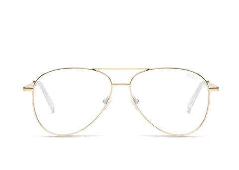 Quay Australia Sunglasses Still Standing - Gold / Clear Blue Light