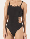 VENICE Apron Cut Out Bodysuit - Black