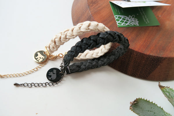 Pinatex Double Bears Bracelets - Black / Cream
