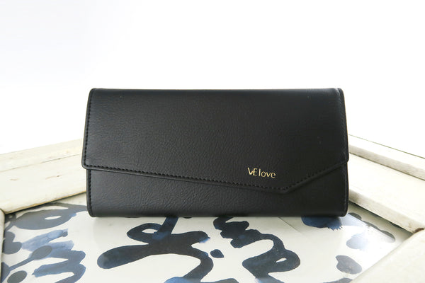 VElove Cat & Moon Bear Wallet - Black