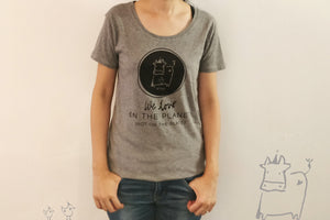 """We love on the planet, not on the plate"" by Dear Cow & Friend - Fair trade certified organic women tee - VElove"