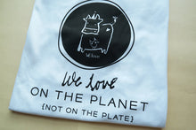 """We love on the planet, not on the plate"" by Dear Cow & Friend - Fair trade certified organic men tee - VElove"
