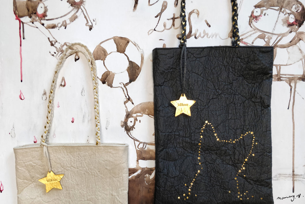 Light me up! Cat Stars Tote Bag - Black - VElove