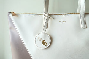 Mixy Animal Personalized Big V Tote Bag - Mud & White - VElove