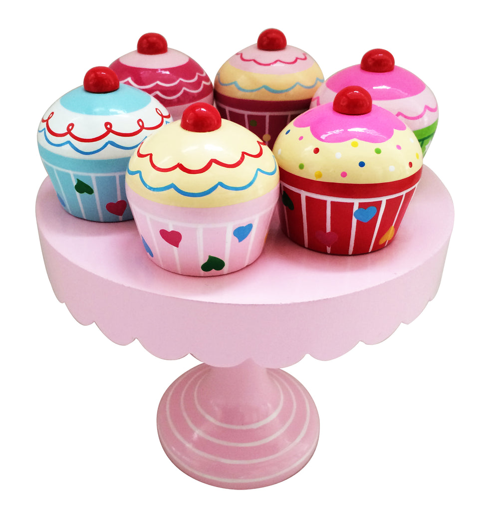 Imaginary Play Wooden Muffins On Cake Stand