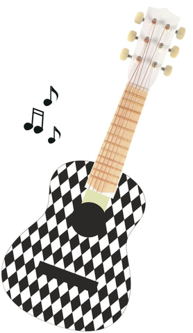 Black & White Harlequin Toy Guitar
