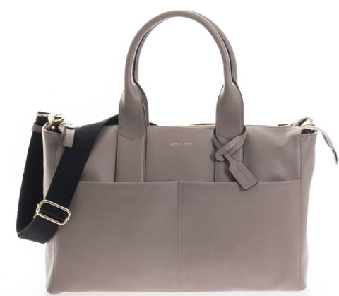 JEM+BEA Jemima Grey Leather Changing Bag - Burble Baby