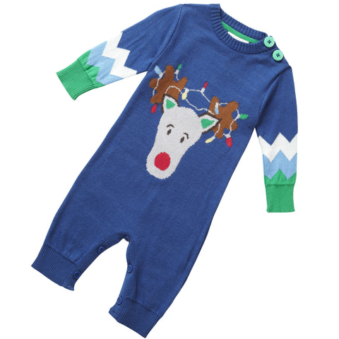 Piccalilly Blue Knit Rudolph Romper - Burble Baby