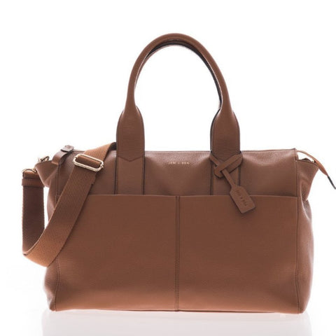 JEM + BEA Jemima Tan Changing Bag - Burble Baby - luxury leather changing bag - shop with 15% off your 1st order at Burble Baby