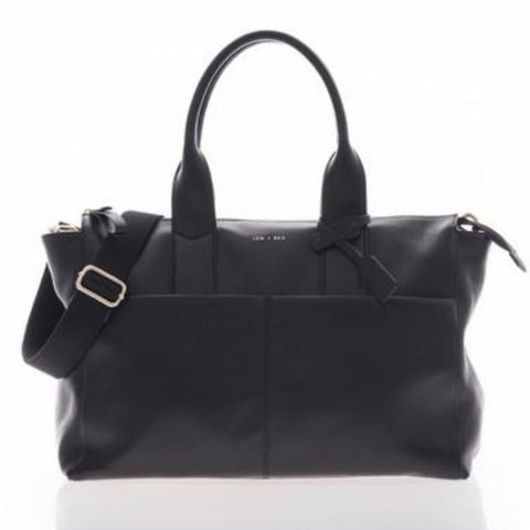 JEM + BEA Jemima Black Changing Bag - Burble Baby - luxury leather changing bag - 15% off your 1st order when you subscribe to the Burble Baby newsletter