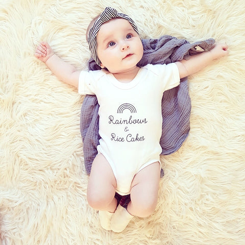 Rainbows & Rice Cakes Baby Vest by Bunny & Beau