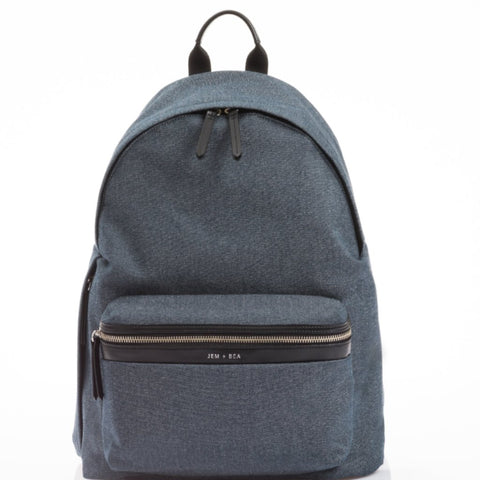 JEM+BEA Jamie Indigo Denim Backpack Changing Bag