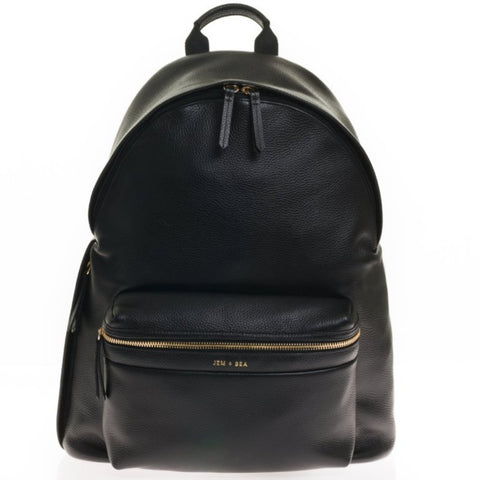 JEM+BEA Jamie Black Leather Backpack Changing Bag - Burble Baby