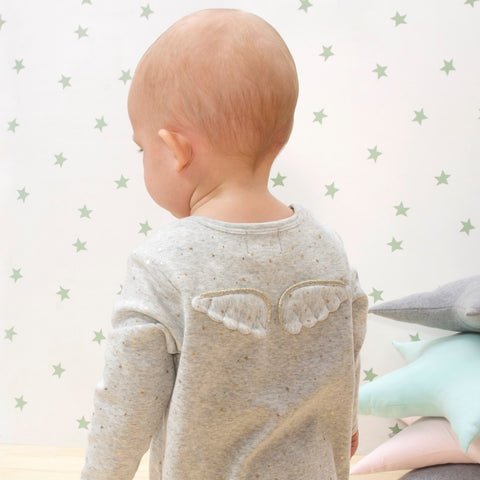 Gold Star Angel Wing Babygrow Grey