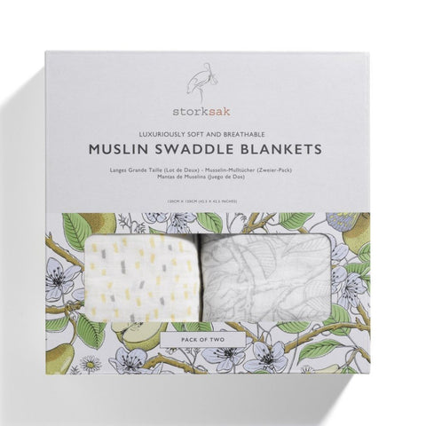 Storksak 2 Pack of Muslin Swaddle Blankets