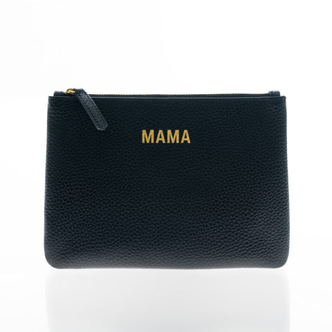 JEM + BEA Black Leather MAMA Clutch