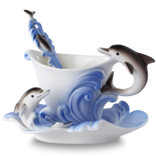 Nice Creative Dolphins European Colored Coffee Mug Porcelain Suit - Need Coffee Time