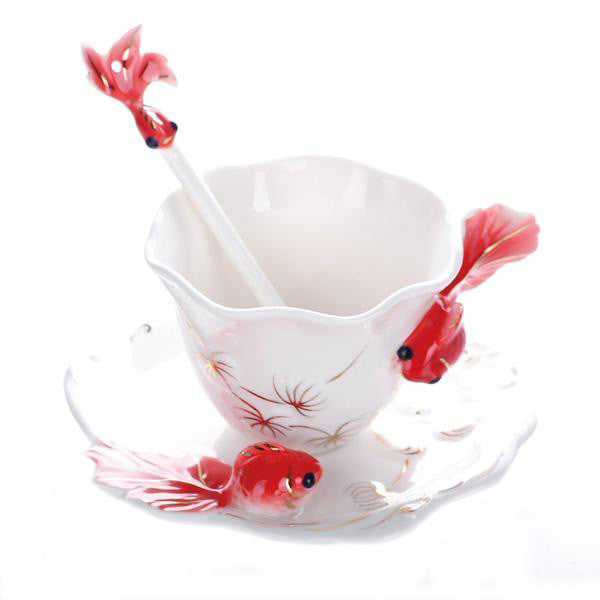 Nice Cheap Creative Goldfish Enamel Coffee Cup Porcelain Mugs And Cups - Need Coffee Time