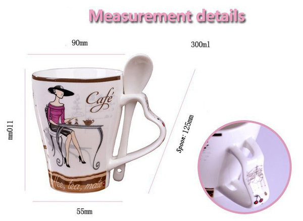 High Quality Fashion Elegant Pattern Design Funny  Ceramic Coffee Cup - Zeat - 4