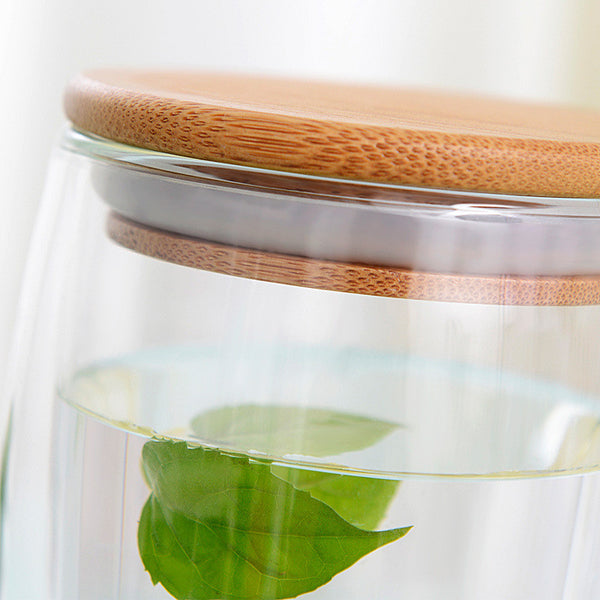 Transparent Heat Resistant Double Wall Glass Cup v Wood Lid Creative - Zeat - 8