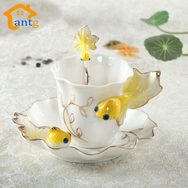 Nice Cheap Creative Goldfish Enamel Coffee Cup Porcelain Mugs And Cups - Zeat - 3