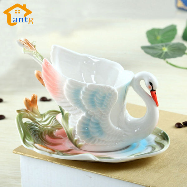 Swan Coffee Cup Colored Enamel Porcelain Mug With Saucer And Teaspoon - Need Coffee Time