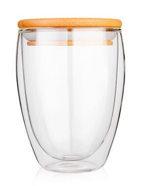 Transparent Heat Resistant Double Wall Glass Cup v Wood Lid Creative - Need Coffee Time