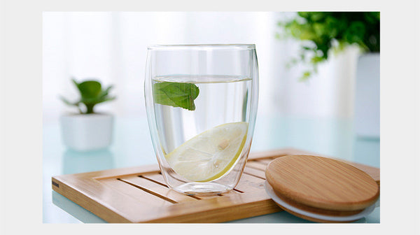 Transparent Heat Resistant Double Wall Glass Cup v Wood Lid Creative - Zeat - 9