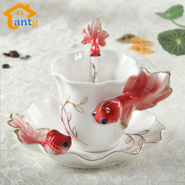 Nice Cheap Creative Goldfish Enamel Coffee Cup Porcelain Mugs And Cups - Zeat - 2