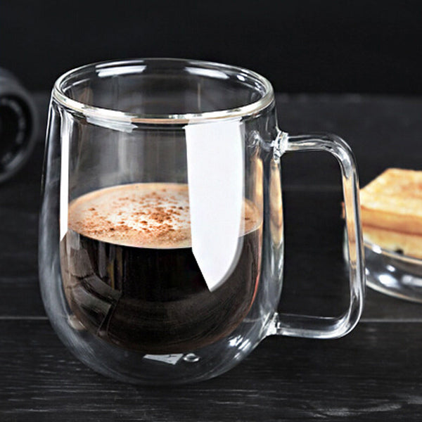 Heat Resistant Double Wall Layer Clear Glass Tea Coffee Cup Mug 250ml - Need Coffee Time