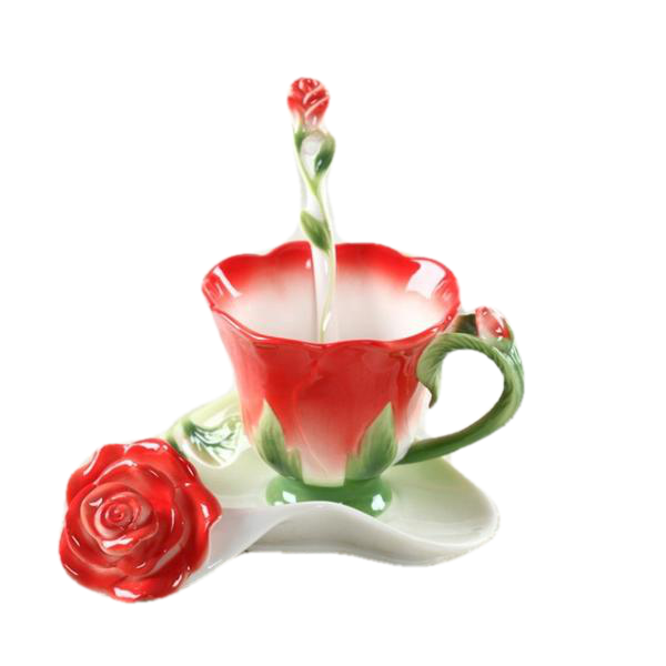 Nice Creative Rose Flower Coffee Cup Bone China Coffee Cups Set - Need Coffee Time