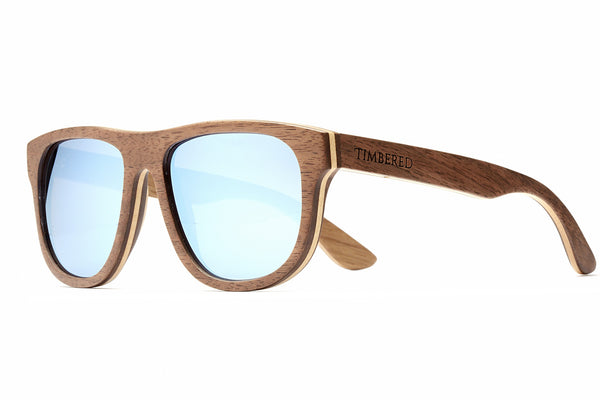 Walnut - Blue - Timbered sunglasses, Wooden sunglasses - Wooden sunglasses, Timbered - Timbered