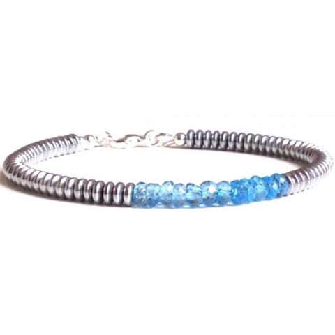 Modern blue topaz bracelet-1-Festive By Nature