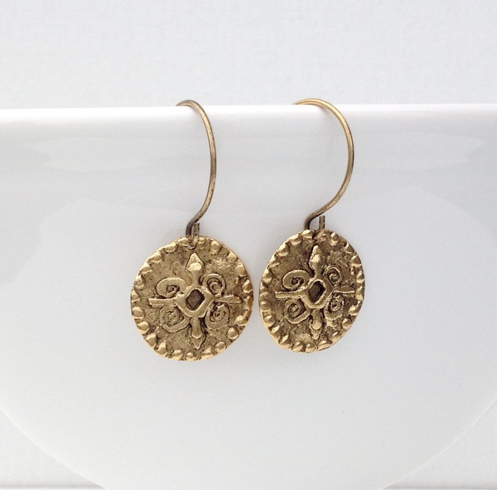 Antique gold coin earrings 1-Festive By Nature