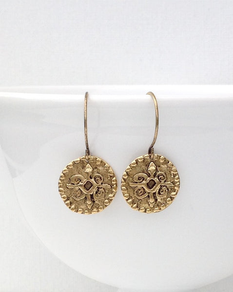 Antique gold coin earrings 2-Festive By Nature