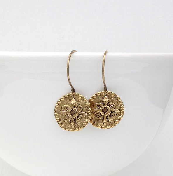 Antique gold coin earrings 3-Festive By Nature